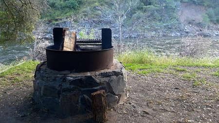 Campsite firepit Stock Photo