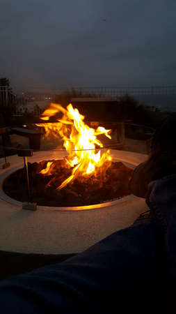 Outdoor firepit with flames