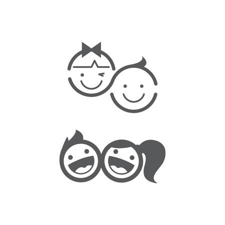 Kids happy symbol child set.