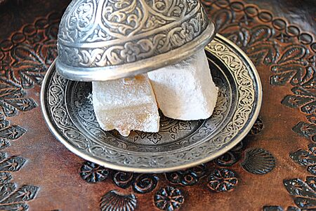 Turkish delight on traditional plate Stock Photo