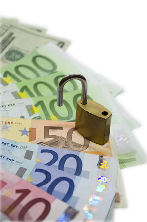 Money with padlock as a concept of protection