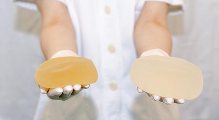 矽膠乳房假體隆胸在整形外科 版權商用圖片