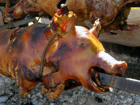 Barbecu, pig on a skewer, crispy roasted    photo