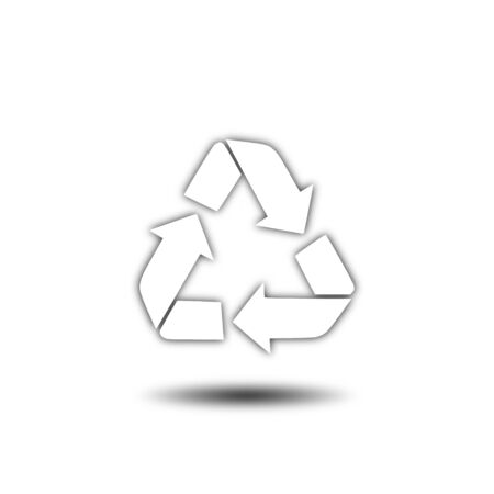 recycling: recycling white icon, sign, illustration Stock Photo