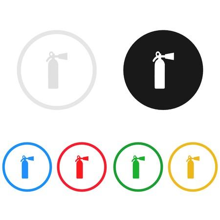 Fire extinguisher icon,sing,illustration Stock Photo