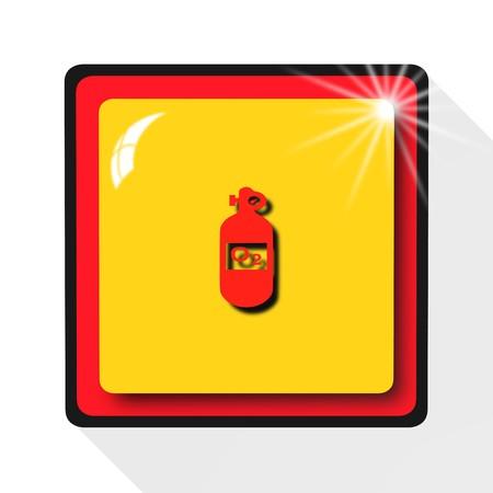 inhalation: oxygen bottle icon,sing,illustration