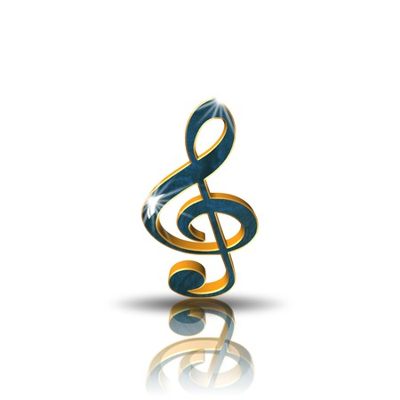 g clef: Clef,icon,sing,3D illustration