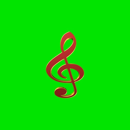 Clef,3D illustration on a green background Stock Photo