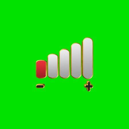 Volume, Volume adjustment,3D illustration on a green background