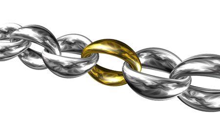 Chain 3D illustration on white