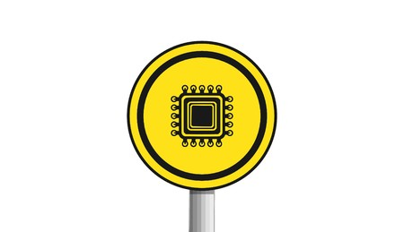processor icon,sign,3D illustration