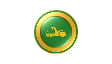 Towing truck icon,sign,3D illustration