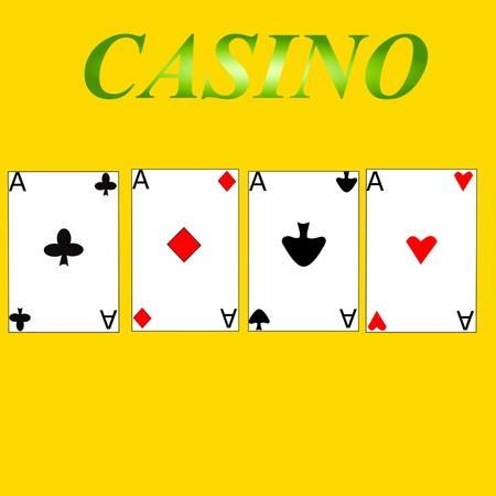 casino game aces cards 3D illustration Foto de archivo - 100613059