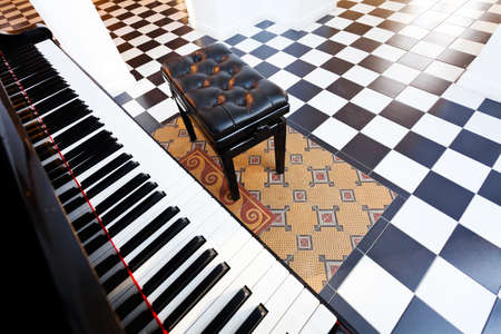 black and white floor in the galery, note shallow depth of field
