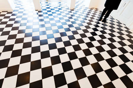flooring: black and white floor under the interior, note shallow depth of field Stock Photo