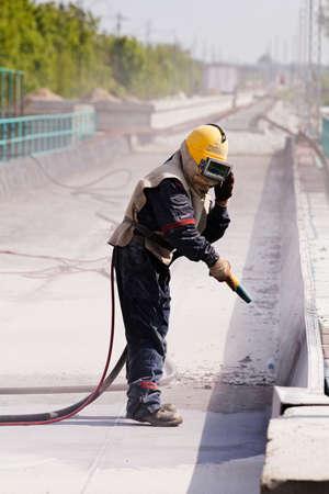 コンクリートのブラストは、フィールドの浅い深さに注意してください。 写真素材