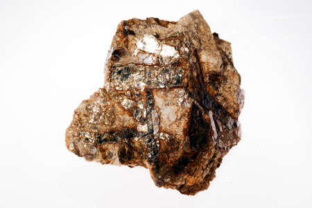 pegmatite, muscovite and biotite granite on the white background Stock Photo