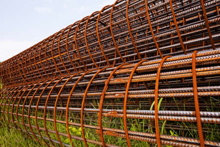 Round mesh reinforcement for columns Stock Photo