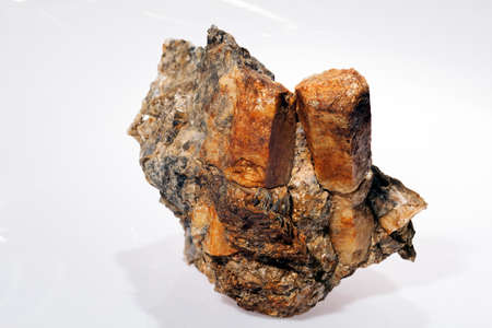 mineral beryl in pegmatites on the white background