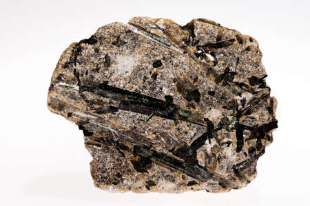 actinolite mineral Inosilicates with talc on the white background