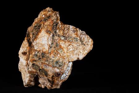 pegmatite, muscovite and biotite granite on the black  background