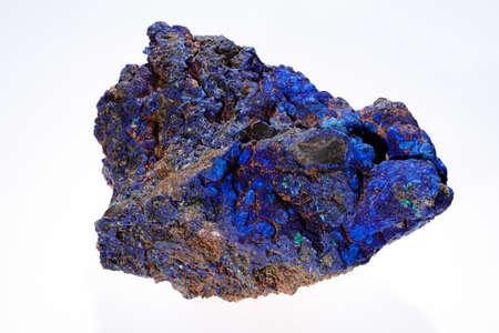 azurite malachite  mineral on the white background
