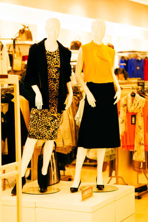 Two female mannequins in dresses