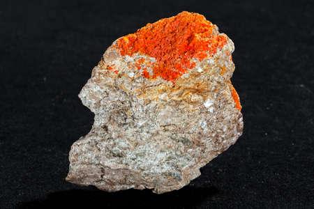 sulphide mineral realgar on the black  background