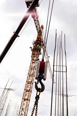 Crane hooks Stock Photo