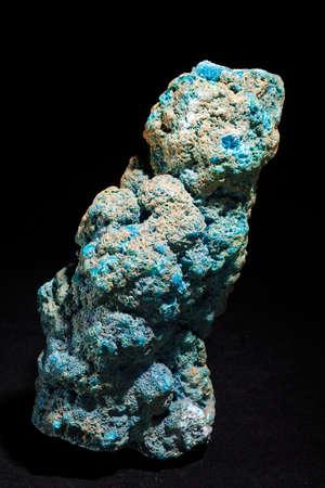 Natural chalcanthite, 23cm high, isolated on black background