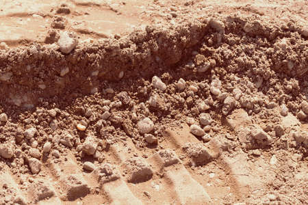 sand quarry: sand in construction in nature, note shallow depth of field Stock Photo