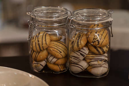 crumpets in glass jars on the table