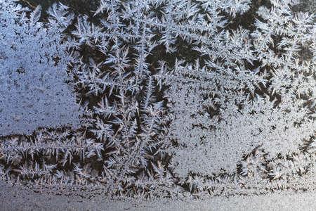 ガラス、メモ フィールドの浅い深さの霜パターン