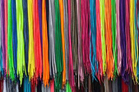 exposed laces of different colors, note shallow depth of field Stock Photo