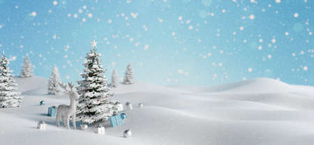 Reindeer with Decorated Christmas tree and gifts outdoors falling snow. Winter holiday background 3d render 3d illustration 免版税图像 - 157891176