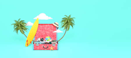 Summer travel concept on blue background. Open suitcase full of things 3D rendering 3D illustration