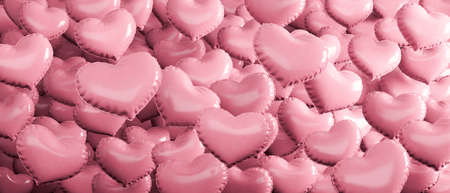 Pink Heart Shaped Balloons Background. Romance and Love concept 3d render 3d illustration 免版税图像