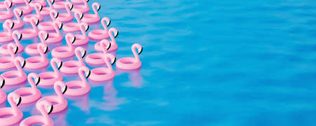 Bunch of pink flamingos floating in the sea. Summer travel concept 3d render 3d illustration 免版税图像