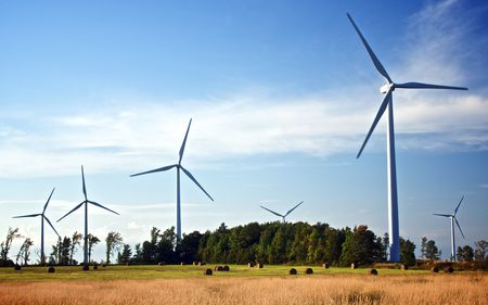 Wind turbines standing in a farm field in Ontario, Canada Stock Photo - 6872633