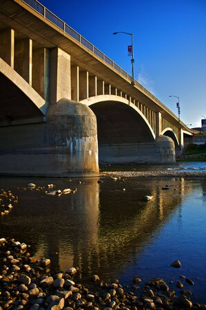 Water level view of the Lorne Bridge in Brantford, Ontario, Canada