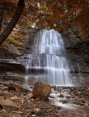 Spectacular time exposure of a majestic waterfall Stock Photo