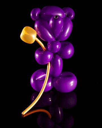Purple Balloon Bear with Golden Flower Stock Photo