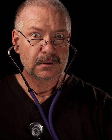 Man listening for and not hearing a heartbeat