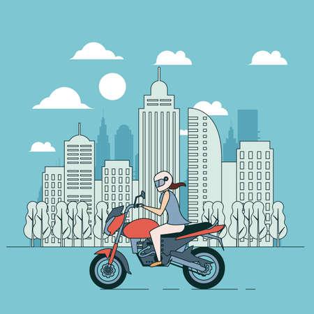 Blue banner, vcity lifestyle, adventure woman on motorbike, flat illustration Vector Illustration