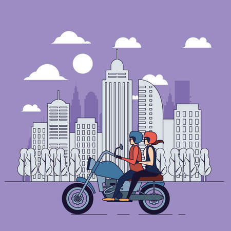 Bikers couple, city banner, line illustration, people lifestyle