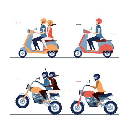 Motorbiike driver set of four elemnts, vector illustration, people driving