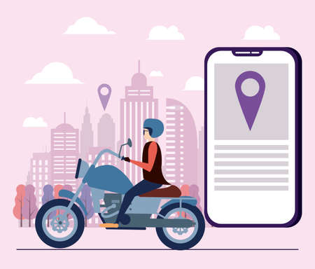Work on internet, GPS delivery app, people lifestyle