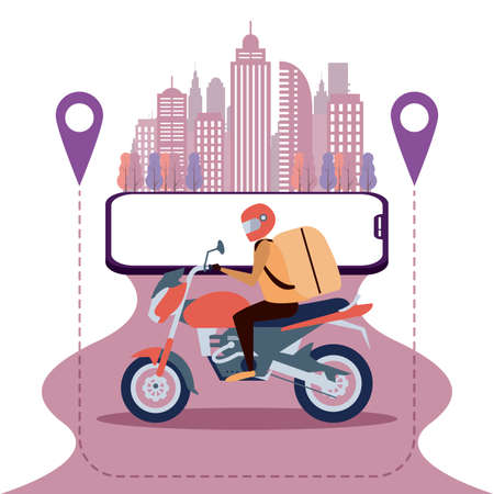 Motorbike delivery, app city banne, delivery app banner and background