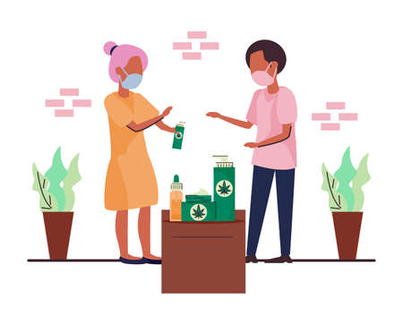 Alternative healthcare illustration, Hemp and CBD oil