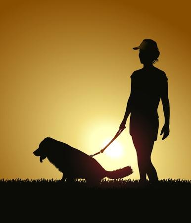 Silhouette - Woman walking dog